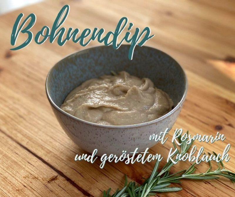 Bohnendip mit Rosmarin und geröstetem Knoblauch